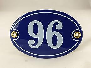 Emaille huisnummerbordje nr. 96, ovaal, blauw-wit Nr. 96 Blau-Weiß