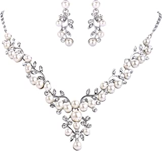 EVER FAITH Women's Crystal Simulated Pearl Leaf Vine Necklace Earrings Set Clear Silver-Tone
