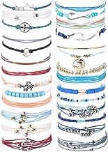 Subiceto 6-7 Set Wave Strand Bracelet Set for Women Girls Handmade Wax Coated Braided Rope Boho Woven Bracelet