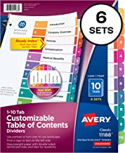 Avery 10-Tab Dividers for 3 Ring Binders, Customizable Table of Contents, Multicolor Tabs, 6 Sets (11188)