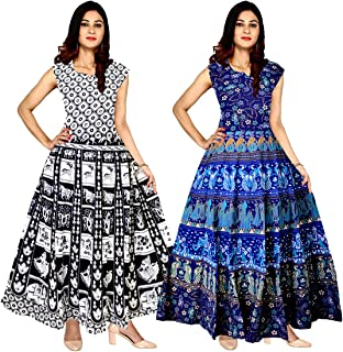 Silver Organisation Women's Cotton Jaipuri Printed Maxi Long Dress (Multicolour, Free Size) -Combo of 2 Pieces