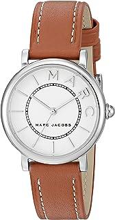 ساعة عادية كاجوال من مارك جاكوبس موديل Mj1572 للنساء، بحركة كوارتز روكسي، مصنوعة من ستانلس ستيل بسوار مصنوع من الجلد بني اللون وشاشة انالوج