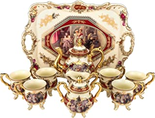 Royalty Porcelain 10-Piece Antique RED Vintage Dining Tea Cup Set, Service for 6, Handmade and Hand-Painted, 24K Gold Bone China Tableware