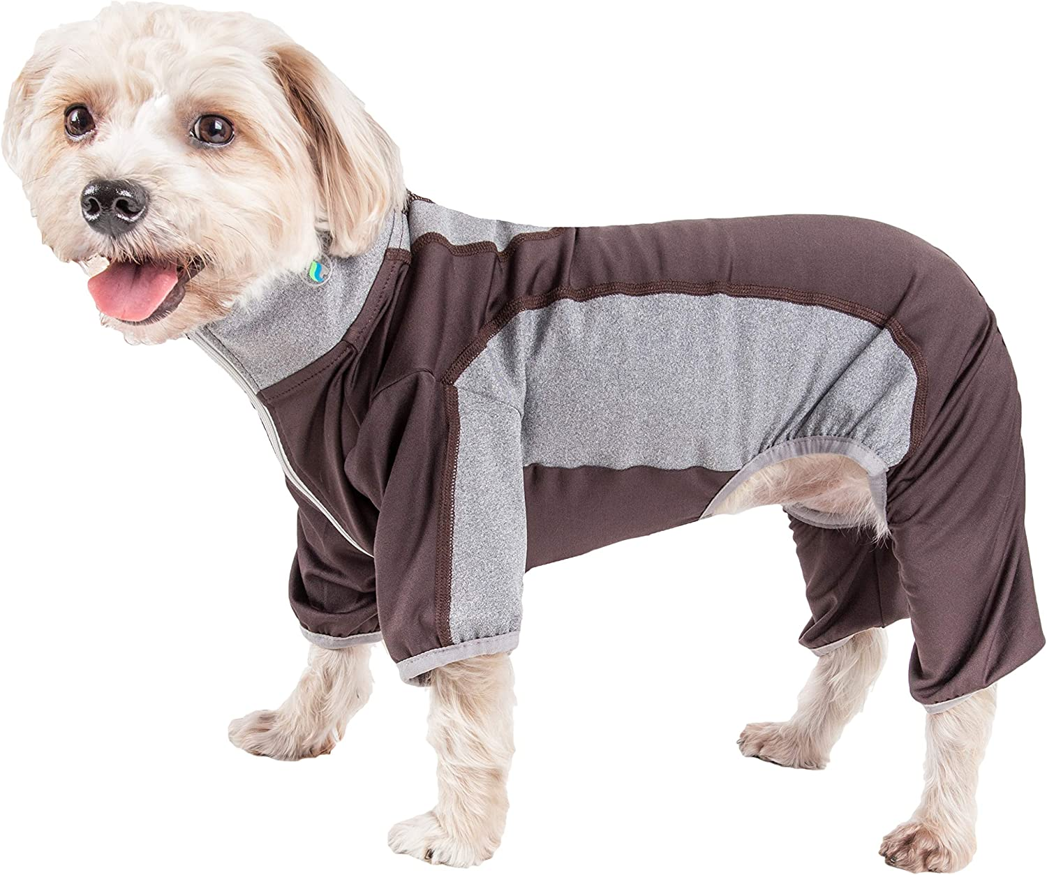 Pet Life Active 'WarmPup' Heathered Performance 4Way Stretch TwoToned Full Body, Small, Brown