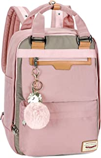 Backpack Purse for Women, Waterproof Girls Backpacks for Elementary High School College Vintage Anti theft Travel Laptop Bag (Pink)