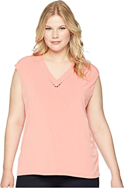 Plus Size Sleeveless V-Neck Top w/ Pearl Detail