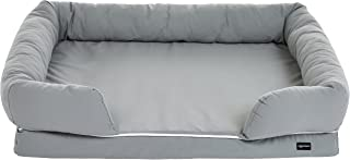AmazonBasics Large Pet Dog Sofa Bolster Lounger Bed - 44 x 35.5 x 10 Inches, Grey