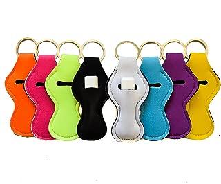 Zario Keychain Holder Lanyard, Neutral Color Design Chapstick Holder Keychain (8 Pack)