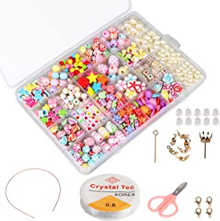 Phogary Children DIY Beads Set(500pcs), DIY Bracelets Necklaces Beads for Jewellery Making for Kids Bead Necklace Bracelet Making Kit As Beads Gift Kit for Girls