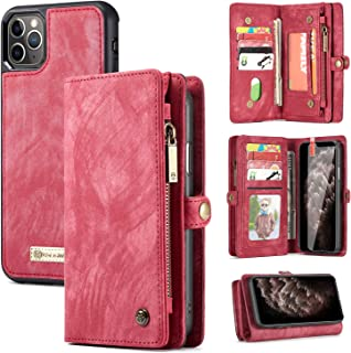 iPhone 11 Pro Max Wallet Case,Zttopo 2 in 1 Leather Zipper Detachable Magnetic 11 Card Slots Card Slots Money Pocket Clutch Cover with Free Screen Protector for 6.5 Inch