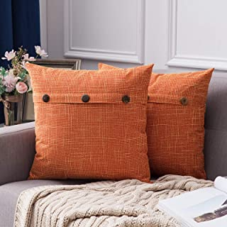 Best MIULEE Set of 2 Decorative Linen Throw Pillow Covers Cushion Case Triple Button Vintage Farmhouse Pillowcase for Couch Sofa Bed 18 x 18 Inch 45 x 45 cm Fall Orange Review