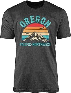 Oregon Shirt - Retro Vintage Mountain Oregon Pacific Northwest T-Shirt - Funny Home State Gift Tees(Dark Grey Heather-XS)