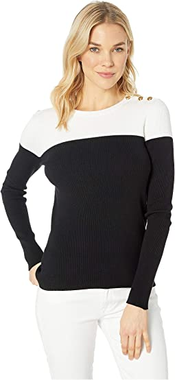 Color Block Cotton Blend Sweater