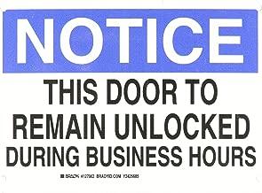 Brady 127062 Door Sign s Sign, Legend