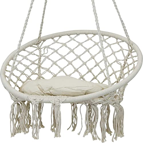 Sunnydaze Hammock Chair Bohemian Macrame Hanging Netted Swing with Seat Cushion and Tassels - Mounting Hardware Included - Indoor or Outdoor Use - Cotton Rope - White