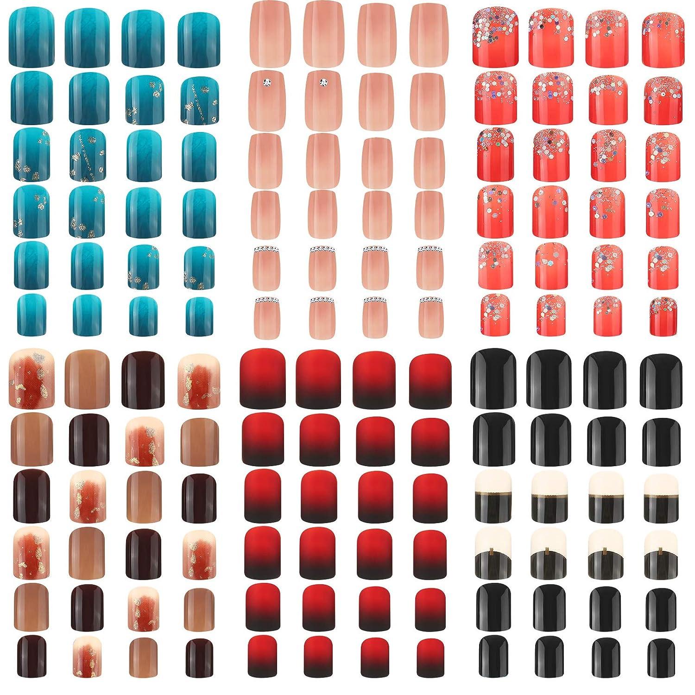 144 Pieces 6 Boxes Short Large-scale sale Square Gradient Fake Color Nails It is very popular False