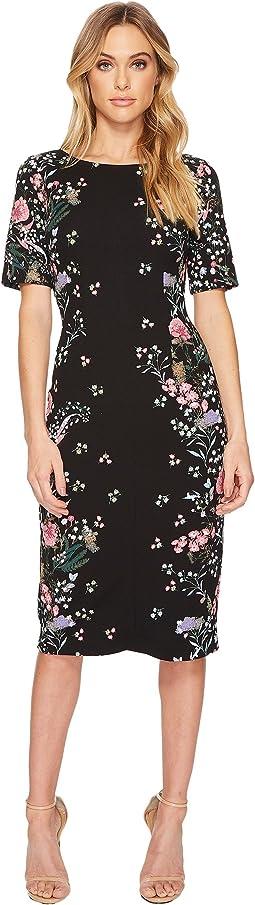 Printed Sheath Midi Dress