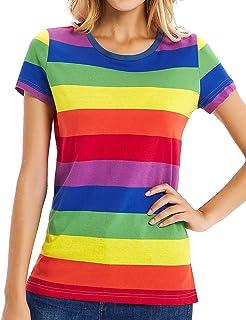 Rainbow T-Shirt Women Striped Shirt Wide Stripes Tees Short Sleeve Crew Neck Top