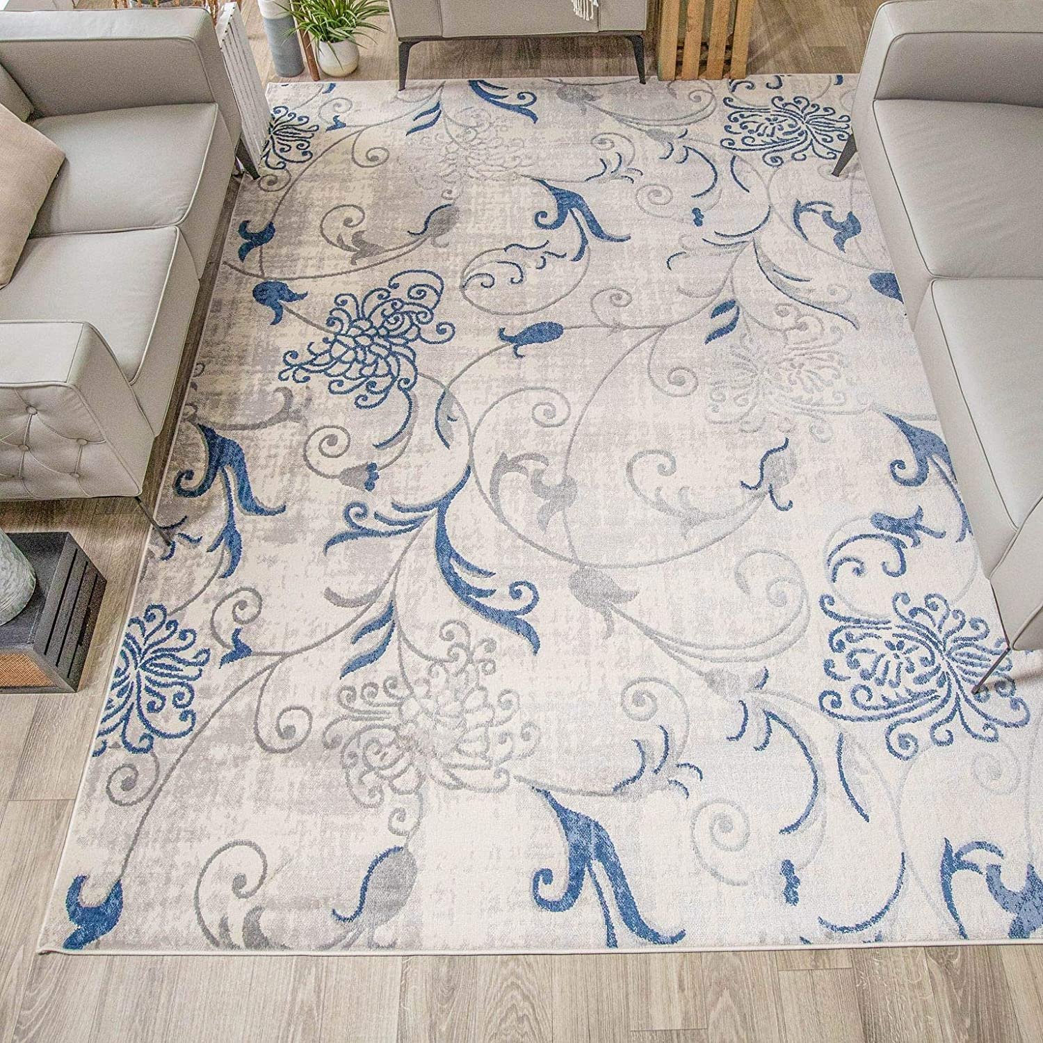 SUPERIOR Zora Scrolling Max 69% OFF Indoor Area -Cobalt Blue Rug SEAL limited product 5X8