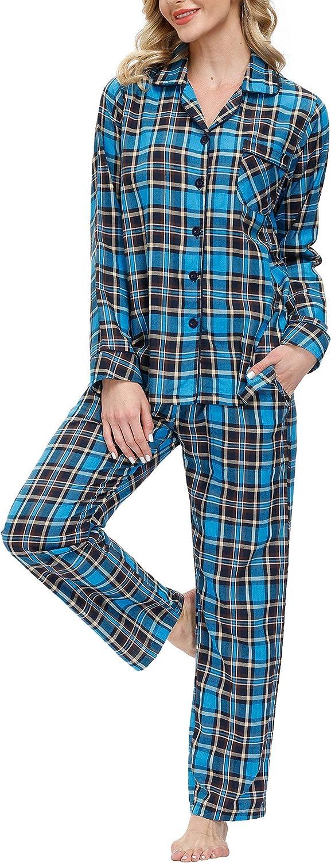 Mofiz Pajamas Inexpensive Set Cheap SALE Start for Women Cotton Button Plaid Classic Breathab