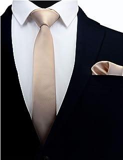 """GUSLESON 2.4 """"مجموعة ربطة العنق ومنديل للرجال الصلبة مجموعة بروش التعادل الرفيعة"""