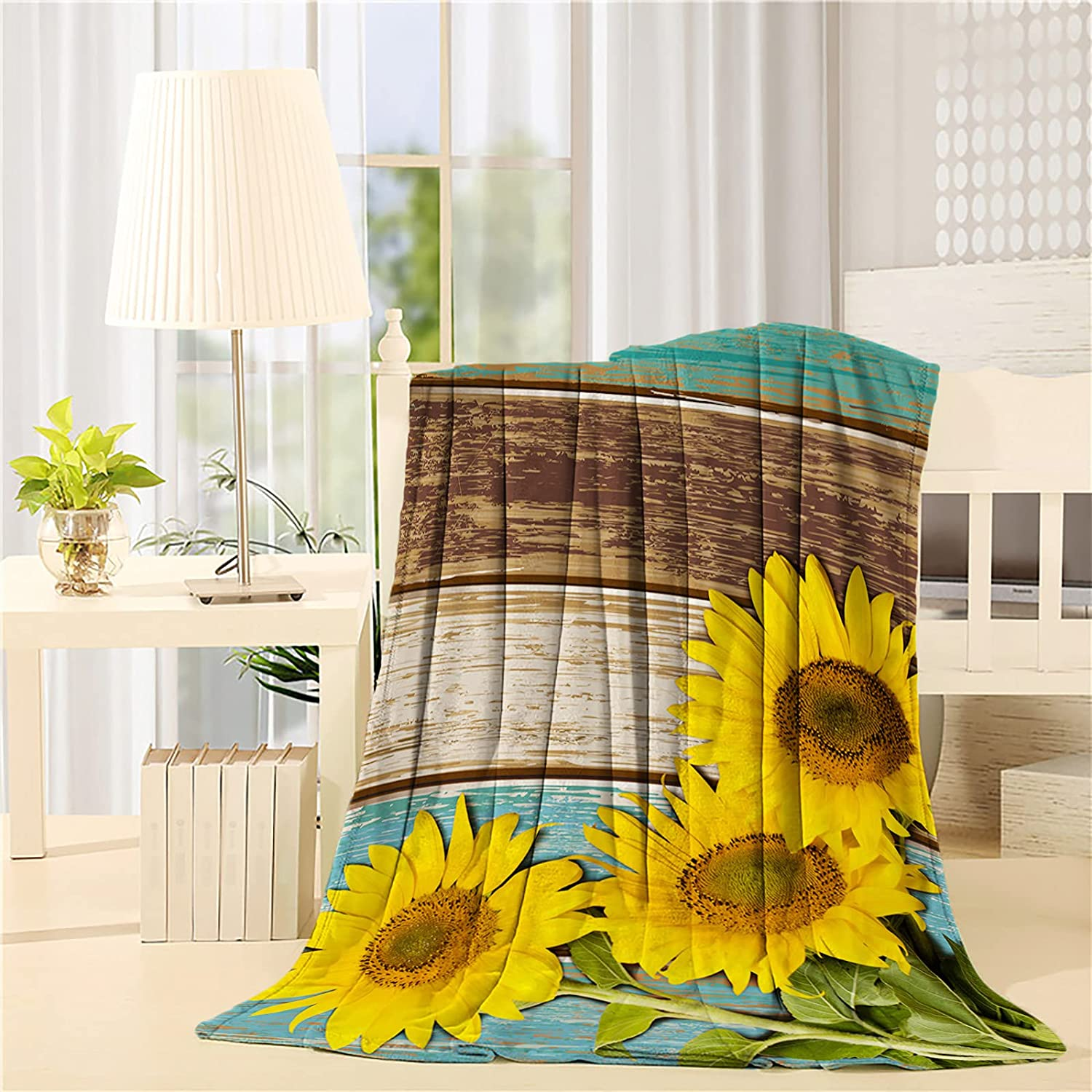 Savannan Max 78% OFF Don't miss the campaign Flannel Fleece Blanket Sunflower Wooden Rustic Old Pla