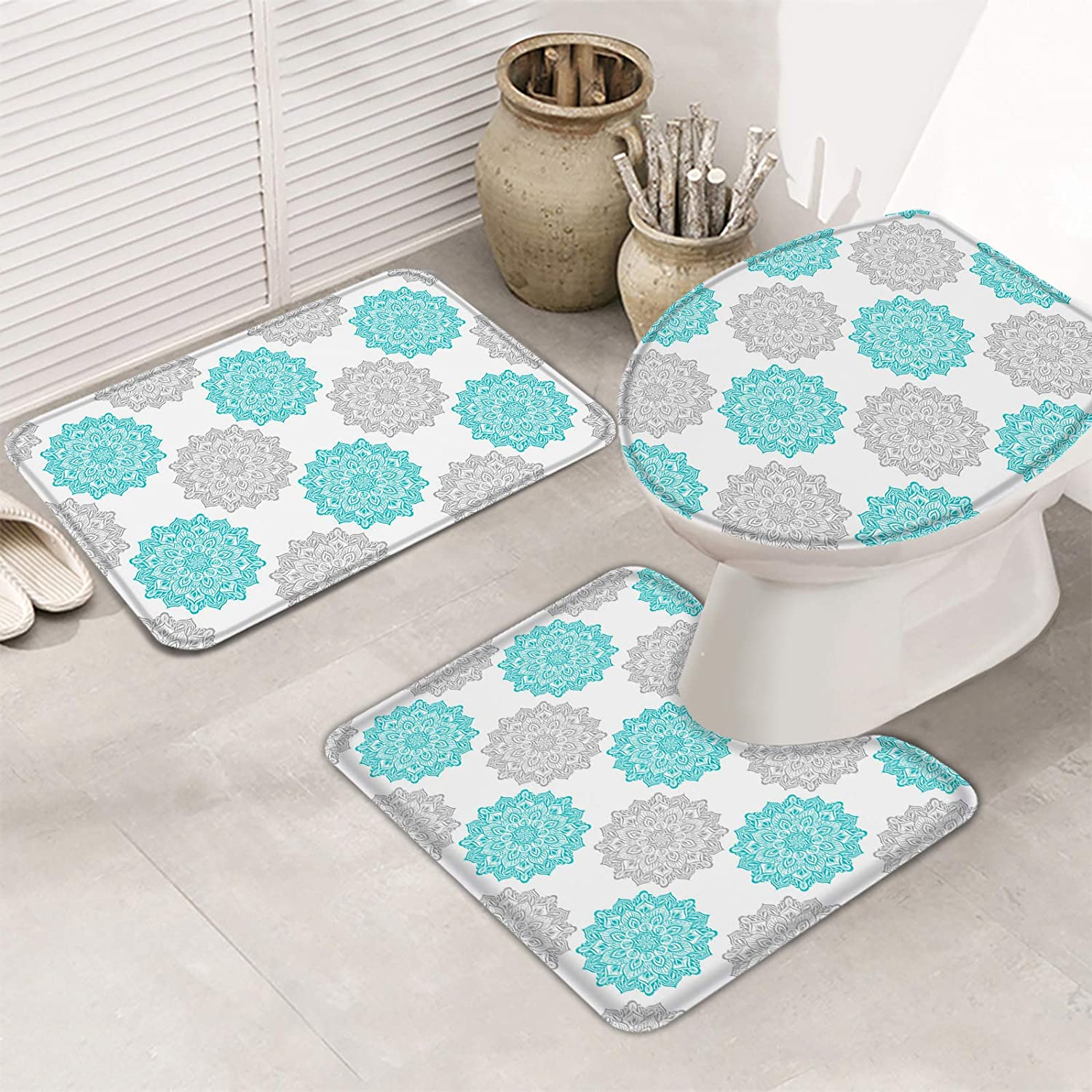 3 Pieces Bath Rug Direct store Set Toilet Cover Seat half Teal Bohemia Green Gray