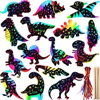 meekoo 60 Sets Dinosaur Scratch Craft Paper Rainbow Dinosaur Ornaments Scratch Paper Decorations for Party and Art DIY Supplies (Style 1)