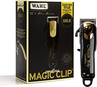 Wahl Professional 5-Star Limited Edition سیاه و طلا بدون سحر و جادو کلیپ # 8148-100 - بزرگ برای آرایشگران و سبک - دقیق بی سیم فاسد Clipper لود شده با ویژگی ها