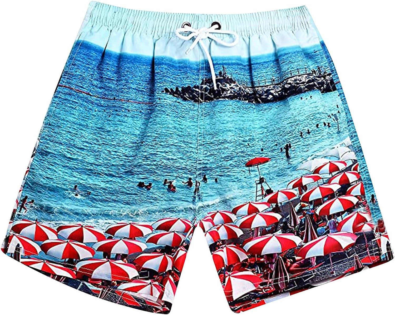 WOSHUAI Swim Trunks for Men with Mesh Lining Pattern Beach Shorts Bathing Suits Elastic Waist Drawstring Hawaiian Shorts