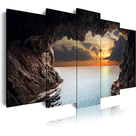 DekoArte 147 - Cuadros Modernos Impresión de Imagen Artística Digitalizada | Lienzo Decorativo Para Tu Salón o Dormitorio | Estilo Paisaje Relajación Cueva Naturaleza Amanecer | 5 Piezas 150x80cm