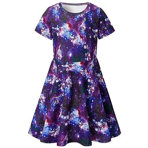 f04821f27ab RAISEVERN Toddler Girl s Dress 3D Print Short Sleeve Swing Skirt Casual  Kids Party Dress