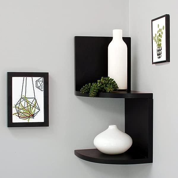 Kieragrace Priva Corner Shelves 7 75 By 7 75 Inch Pack Of 4 Black