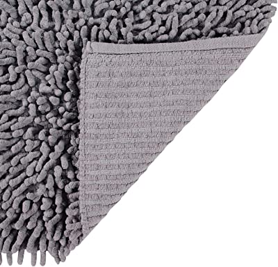 """Better Trends Loopy Chenille Collection is Ultra Soft, Plush and Absorbent Tufted Bath Mat Rug 100% Cotton in Vibrant Colors, 24"""" Square, Gray"""