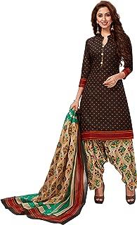 Jevi Prints Women's Cotton Printed Straight Stitched Salwar Suit Set (SUIT_SP-4645_Black & Beige)