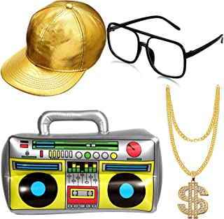 Hip Hop Costume Kit Hat Sunglasses Gold Chain 80s/ 90s Rapper Accessories (Gold Baseball Cap, Boom Box)