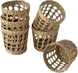 Made Terra Set of 6 Pack Wicker Woven Cup Holders Heat Resistant Hand Woven Drink Glass Cup Holder Chic Rustic Countryside...