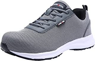 LARNMERN Steel Toe Shoes Men, Work Safety Sneakers Reflective Strip SRB Lightweight Industrial & Construction Shoe (11.5 US, Knit Gray)