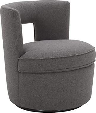 "Rivet Slade Contemporary Living Room Accent Swivel Chair, 27""W, Sunday Graphite"