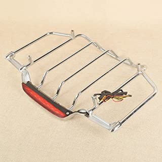 XFMT Chrome Luggage Rack With Light Compatible with Harley Air Wing Tour Pack Trunk Pak 1993-2013