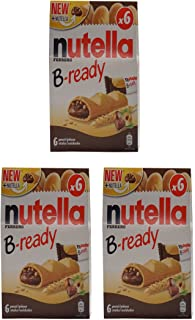 "Ferrero: ""Nutella B-ready NEW + NUTELLA "" a crisp wafer of bread in the form of mini - baguette stuffed with a creamy Nutella 6 pieces 4.6 oz (132g) Pack of 3 [ Italian Import ]"