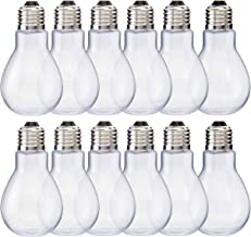 "Home Collectives Fillable Light Bulb Containers, 12 Pack – Clear Plastic Candy Jars, Party Favors, Decorative Centerpieces, Arts and Crafts Supplies - Twist Off Cap, Freestanding Bottom, 4"" Tall"