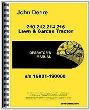 John Deere 210 212 214 216 Lawn Garden Tractor Operators Manual s/n 19001-190000