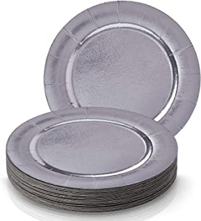 DISPOSABLE ROUND CHARGER PLATES - 20pc (Silver)