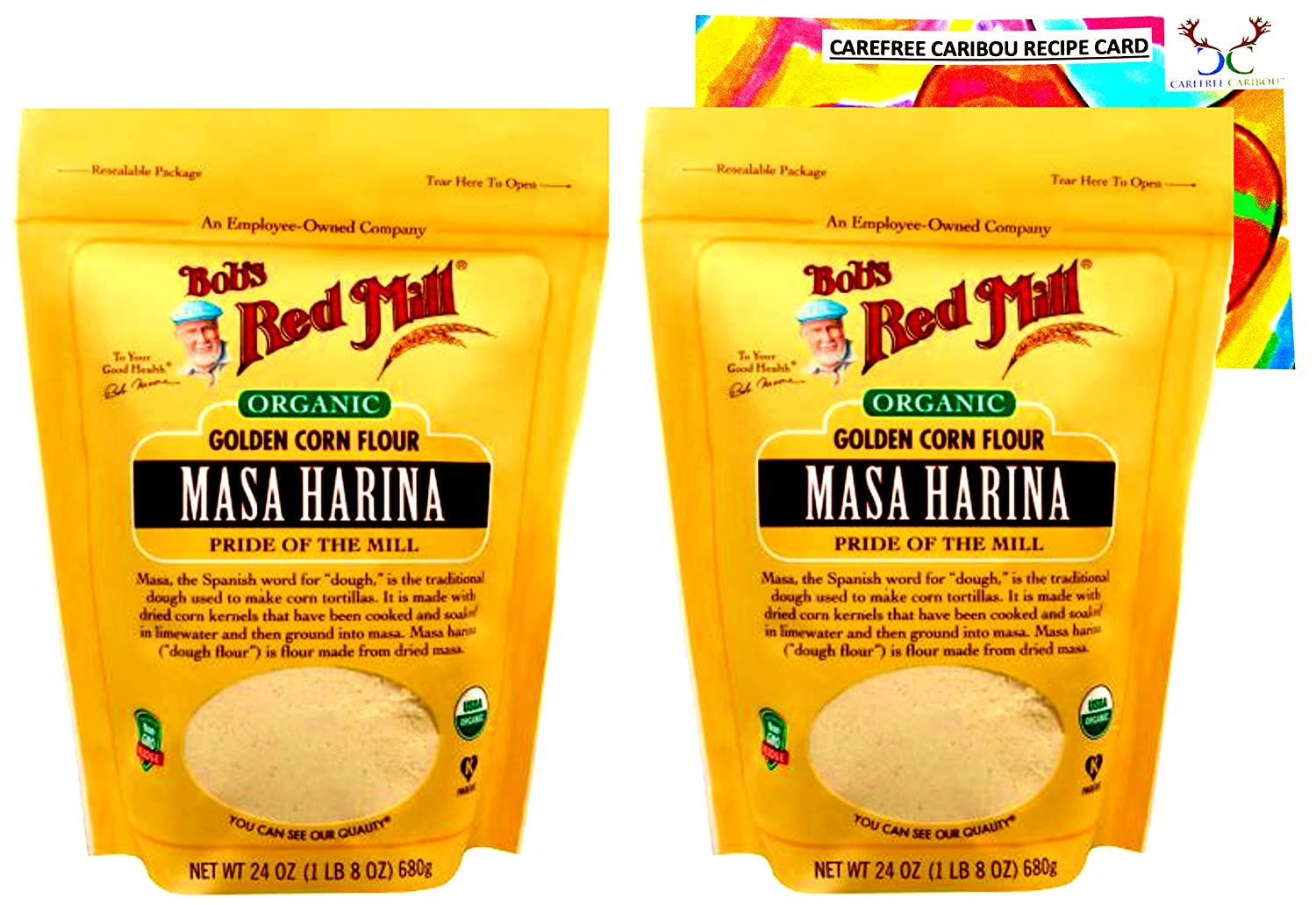 Bob's Red Mill Organic Masa Harina Flour Bundle. Includes Two (2) 24oz Packages of Bob's Red Mill Organic Masa Harina Flour and a Masa Harina Flour Recipe Card from Carefree Caribou!