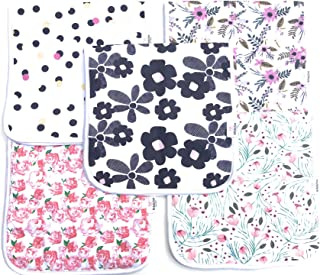 NJBABYGEAR 5-Pack Baby Burp Cloths for Girls- Large Soft Absorbent 100% Organic Cotton, Triple Layer, Burping Rags Towels for Infants- Perfect Baby Shower Gift Registry SetBurp Cloths Girl