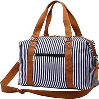 Gimay Carry on Bag Tote Duffel Bag Overnight Weekender Bag Travel Bags for Women (Blue Stripe)