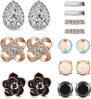 8 Pairs Stud Earrings Set Ear Stud Jewelry for Women Girls, Silver, Rose Gold