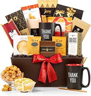 GiftTree A Thousand Thanks Gift Basket | Thank You Mug Included | Honey Sticks, Almond Biscotti, Peanut Brittle, Steven Smith Tea, Ghirardelli Hot Cocoa and More |