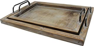 Vintage Rustic Torched Wood Country Nested Serving Trays – White Washed Tray Set For Serving Breakfast, Coffee, Lunch, or Dinner – 2 Piece